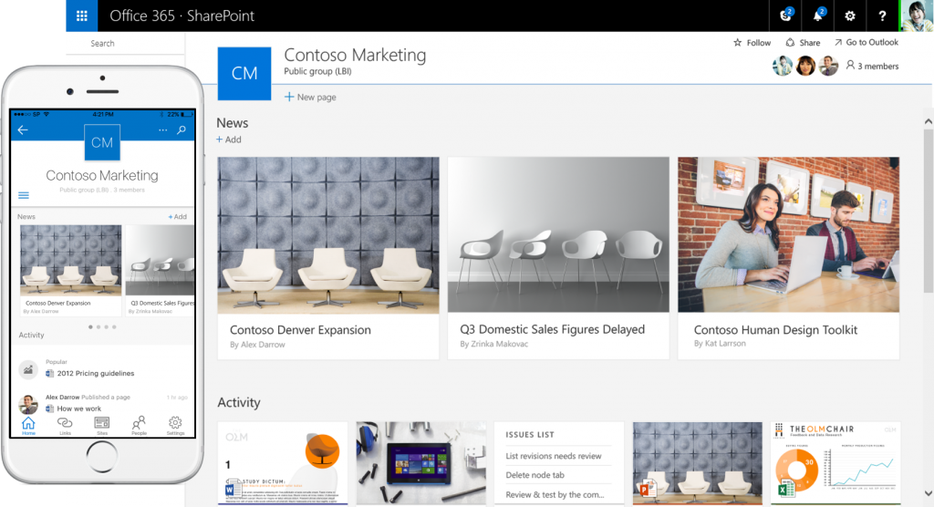 SharePoint 2016 team site and mobile app